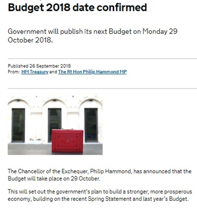 29th October: Budget Day